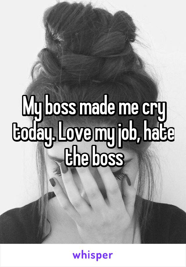 My boss made me cry today. Love my job, hate the boss.