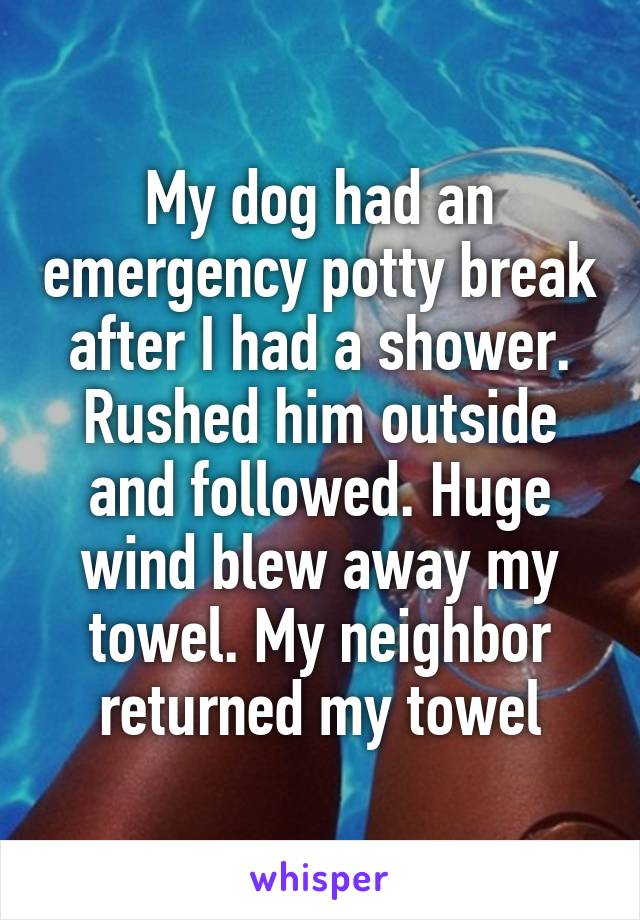 My dog had an emergency potty break after I had a shower. Rushed him outside and followed. Huge wind blew away my towel. My neighbor returned my towel.